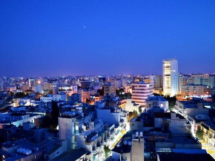 Nicosia view by night view of rooftops Tower 25 in the background Republic of Cyprus mtime20171116153252